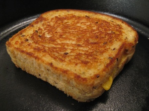 Test subject 1: a Tofutti grilled cheese sammie.