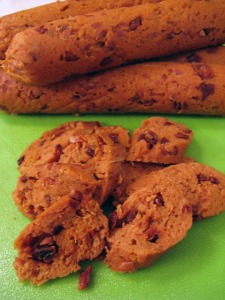 Seitan Sundried Tomato Sausages (recipe via The Vegan Dad).
