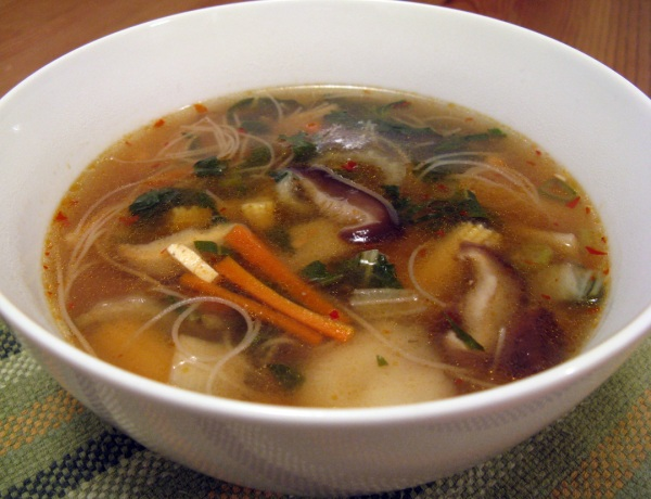 Vegan Hot and Sour Soup with Fresh Shiitakes and Vermicelli Noodles