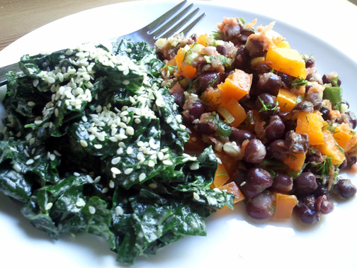 Kale Gomae with Zesty Adzuki Bean Salad