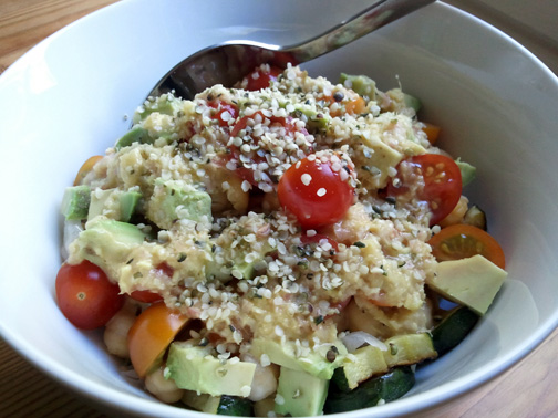 Brown Rice Bowl with Avocados, Tomatoes, Hemp Seeds and an Onion-Ginger Sauce