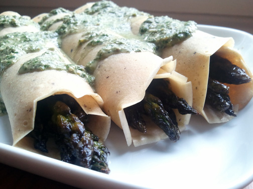Mung Bean Crepes with Roasted Asparagus and Fresh Pesto