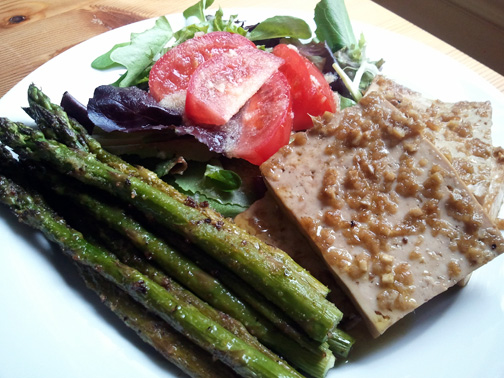 Marinated Baked Tofu with Roasted Asparagus and Baby Greens Salad