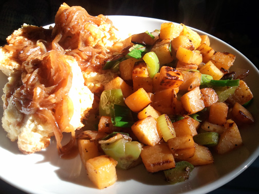 Rutabaga Hash with Rice Biscuits and Smoky Caramelized Onion Gravy
