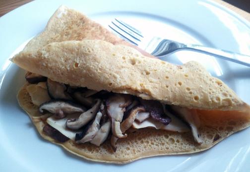Besan Crepe with Shiitake Mushrooms and Smoked Tofu