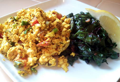 Scrambled Tofu with Sauteed Swiss CHard